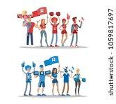 football fans set. two teams... | Shutterstock .eps vector #1059817697