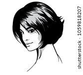 beautiful woman portrait. bob...   Shutterstock .eps vector #1059818207