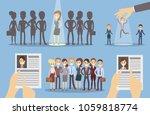 choose employee set. picking up ... | Shutterstock .eps vector #1059818774
