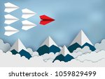 red paper aircraft leader ... | Shutterstock .eps vector #1059829499
