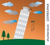 the pisa tower and physics... | Shutterstock .eps vector #1059853964