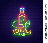 tequila bar neon sign  bright... | Shutterstock .eps vector #1059854291
