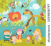 happy children in zoo with wild ... | Shutterstock .eps vector #1059858797