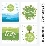 happy earth day. set of vector... | Shutterstock .eps vector #1059859157
