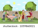 family on bbq party on the... | Shutterstock .eps vector #1059860021