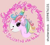 the cute magic unicorn and... | Shutterstock .eps vector #1059876131