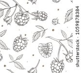 hand drawn raspberry. retro... | Shutterstock .eps vector #1059878384