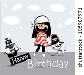 happy birthday card a child... | Shutterstock .eps vector #105987971