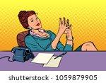 businesswoman boss sitting at...   Shutterstock .eps vector #1059879905