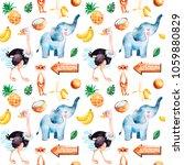 africa watercolor seamless... | Shutterstock . vector #1059880829