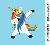 dabbing unicorn with blue... | Shutterstock .eps vector #1059886085