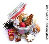Christmas decoration, preserving glass - stock photo