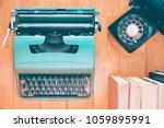 top view of old typewriter ... | Shutterstock . vector #1059895991