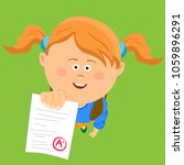top view of little girl showing ... | Shutterstock .eps vector #1059896291