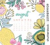 august month calendar. summer... | Shutterstock .eps vector #1059899939