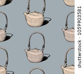 pattern of the of clay teapots | Shutterstock .eps vector #1059903581