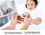 little girl with illness at bed ... | Shutterstock . vector #105990491