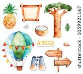 africa watercolor set.safari... | Shutterstock . vector #1059921167