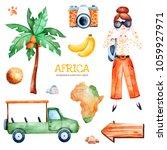 africa watercolor set.safari... | Shutterstock . vector #1059927971