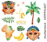 africa watercolor set.safari... | Shutterstock . vector #1059931607