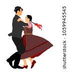 hungarian folk dancers couple... | Shutterstock .eps vector #1059945545