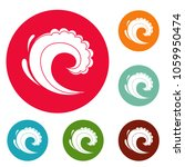 wave water surfing icons circle ... | Shutterstock . vector #1059950474
