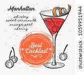 cocktail manhattan for bar menu....   Shutterstock .eps vector #1059951944