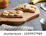 two toasts from multi grain...   Shutterstock . vector #1059957989