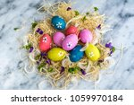 Colorful Easter Eggs On A...