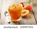 glass with homemade apricot jam | Shutterstock . vector #105997541