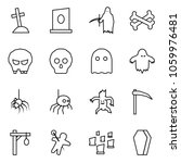 flat vector icon set   grave... | Shutterstock .eps vector #1059976481