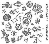 cosmic doodle pattern set with... | Shutterstock .eps vector #1059983435
