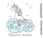 sleeping unicorn sitting on the ... | Shutterstock .eps vector #1059983441