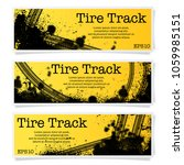 set of three tire track banners ... | Shutterstock .eps vector #1059985151
