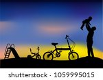 silhouette of father have fun... | Shutterstock .eps vector #1059995015