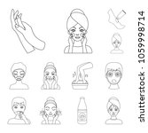 skin care outline icons in set... | Shutterstock .eps vector #1059998714