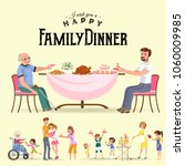family eating dinner at home ... | Shutterstock .eps vector #1060009985