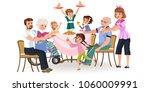 family eating dinner at home ... | Shutterstock .eps vector #1060009991