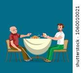 family eating dinner at home ... | Shutterstock .eps vector #1060010021