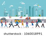 people walking on the street ... | Shutterstock .eps vector #1060018991