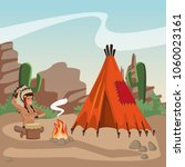 american indian at village | Shutterstock .eps vector #1060023161