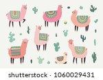 Stock photo hand drawn illustrations with llama alpaca cactus 1060029431