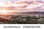 wind turbines at sunset  ... | Shutterstock . vector #1060036184