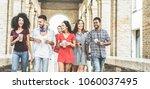 happy millennials friends...   Shutterstock . vector #1060037495