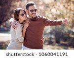 loving couple enjoying in... | Shutterstock . vector #1060041191