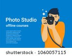 happy photographer is taking a... | Shutterstock .eps vector #1060057115