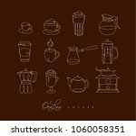 coffee icons in pen hand... | Shutterstock .eps vector #1060058351