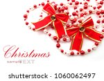 christmas red bow ribbon... | Shutterstock . vector #1060062497