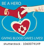 blood donation. be a hero.... | Shutterstock .eps vector #1060074149