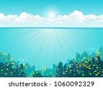 underwater background with... | Shutterstock .eps vector #1060092329